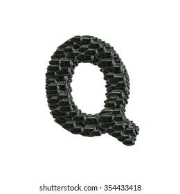 Closeup pile of black stone in Q english alphabet isolated on white background