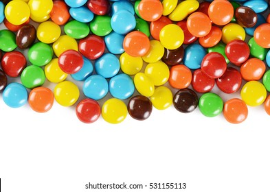 The closeup of pile colorful chocolate candies