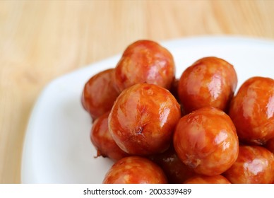 Closeup Pile of Delectable Northeastern Thai Sausages Called Sai krok Isan - Shutterstock ID 2003339489