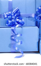 closeup of a pile of gifts isolated on a white background