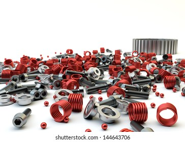 Closeup Pile of nuts and bolts from disassembled clutch isolated on white