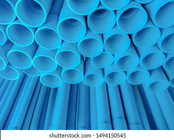 Closeup , Pile of PVC blue pipe for background