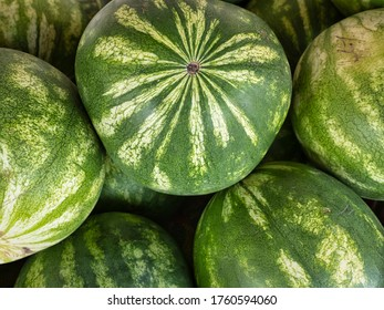 Closeup of a pile of red seedless watermelons at local Delaware farm market.