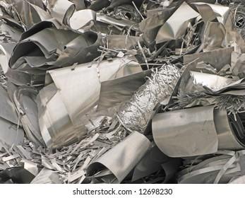 close-up of a pile of scrap metal