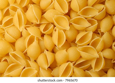 Close-up of a pile of shell pasta