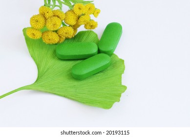 Closeup of pills and fresh Ginkgo Biloba leaves and yellow tansy best suited for alternative medicine