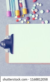 Closeup of a pills, stethoscope on an rx prescription