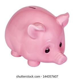 Close-up of a pink piggy bank