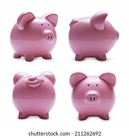 Close-up of pink porcelain piggy banks in four different positions as front, rear, side and perspective, with shadow on white