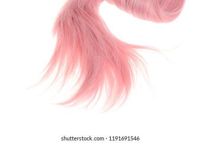 closeup pink weft of hair