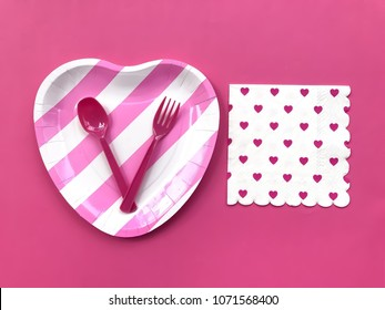 Closeup pink \u0026 white striped paper plate and plastic spoon \u0026 fork with heart printed napkin  sc 1 st  Shutterstock & Plastic Paper Plates Spoon Images Stock Photos \u0026 Vectors | Shutterstock