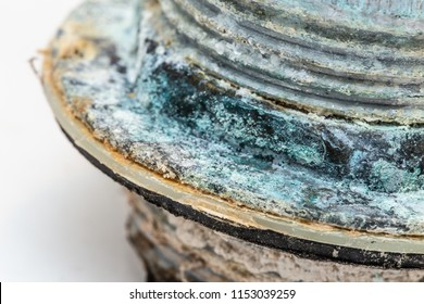 closeup pipe corrosion and copper sulfate rusty from water mineral erosion oxidation