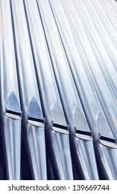 Close-up pipe organ in church