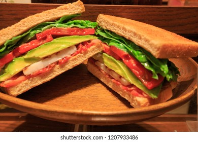 Closeup of plastic BLT sandwich on display in front of restaurant in Japan