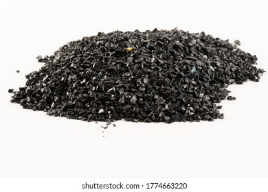 Close-up of plastic polymer granules