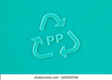 Close-up of plastic recycling symbol PP - Polypropylene