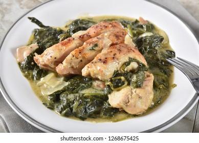 Closeup of a plate of gourmet chicken florentine