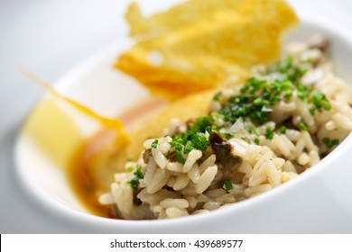 closeup of a plate of risotto with vegetables