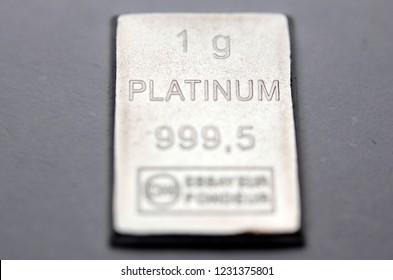 Close-up of a Platinum bar