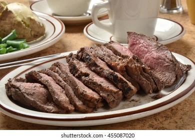 Closeup of a platter of organic grass fed roast beef sirloin