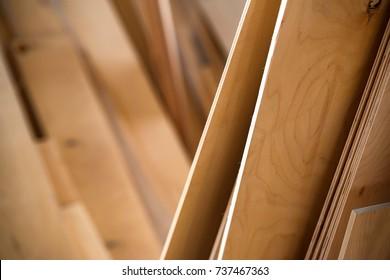 Close-up of plywood sheets