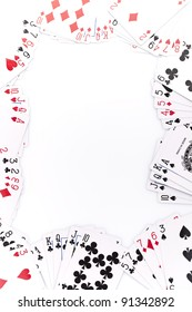 Close-up of poker cards on white background