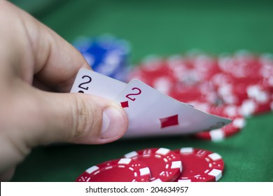Closeup of poker player with lousy double