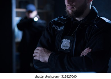 Close-up of police officers on the intervention