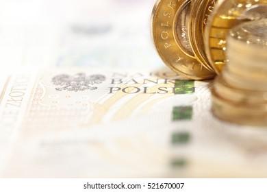 close-up Polish money - zloty, banknotes and coins