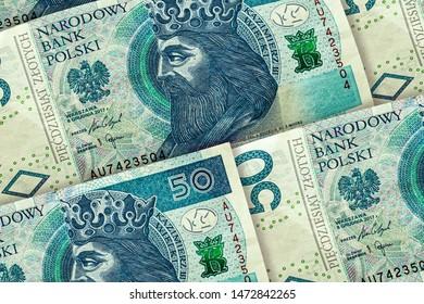 Closeup Polish zloty banknotes background. PLNpattern. 50 zloty, Poland. Kazimierz Wielky