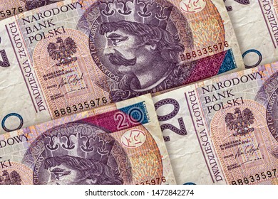 Closeup Polish zloty banknotes background. PLNpattern. 20 zloty, Poland. Boleslaw Chrobry