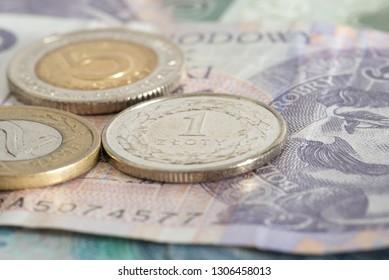 A close-up of Polish zloty PLN banknotes and coins