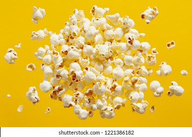 Close-Up Of Popcorn Against Yellow Background