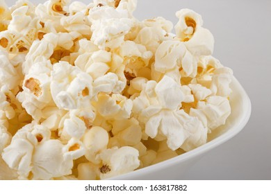 closeup of popcorn in a white bowl