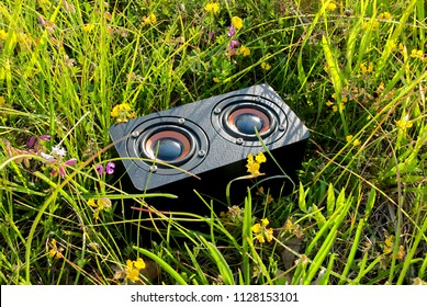 close-up of a portable audio device in the grass, freedom of listening music outdoors to relax and have fun
