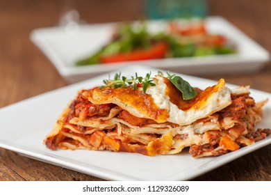 closeup of a portion of lasagna