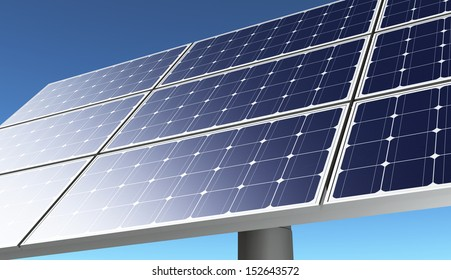 a closeup of a portion of a solar panel in a bright day with a blue sky on the background