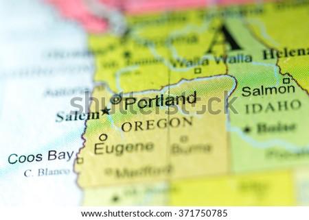 Closeup Portland Oregon On Political Map Stock Photo (Edit Now ... on