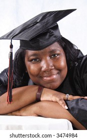 close-up portrait of a African American High School graduate.