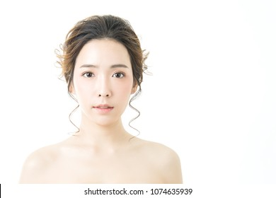 Closeup portrait of asian woman clear healthy perfect skin care image isolated on white background, asian beautiful Korean girl smile face. Beauty clinic glow makeup facial treatment surgery concept