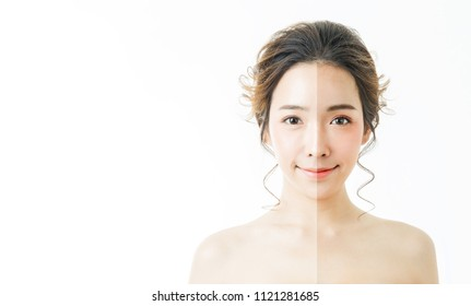 Closeup portrait of asian woman fair perfect healthy glow skin half face tan skin isolated on white background, asian beautiful girl pretty smile on face. Beauty clinic tanned facial skincare concept