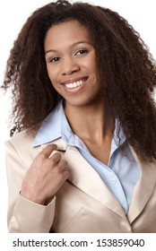 Closeup portrait of attractive afro-american businesswoman smiling.