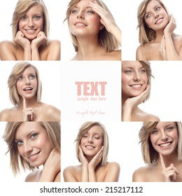 closeup portrait of attractive  caucasian smiling woman blond isolated on white studio shot lips toothy smile face hair head and shoulders looking at camera blue eyes tooth collage