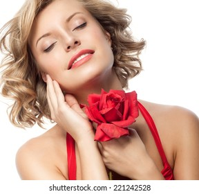 closeup portrait of attractive  caucasian smiling woman blond isolated on white studio shot lips toothy smile face hair head and shoulders eyes closed red rose flower