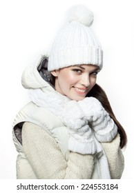 closeup portrait of attractive  caucasian smiling woman brunette isolated on white studio shot lips toothy smile face hair head and shoulders looking at camera tooth winter christmas