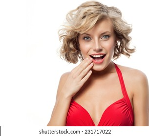 closeup portrait of attractive  caucasian smiling woman blond isolated on white studio shot lips toothy smile face hair head and shoulders looking at camera blue eyes tooth