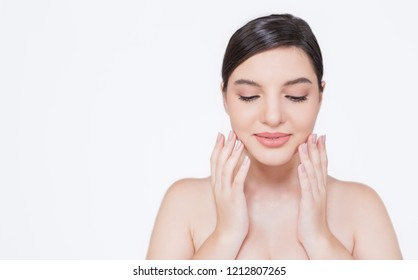 Closeup portrait of attractive caucasian woman with fair perfect healthy glow skin using cleaning wash or lotion on her face, young beauty girl clinic skincare spa and surgery concept