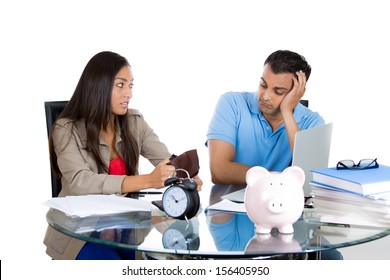 Closeup portrait of attractive man and woman showing empty wallet to her husband, being broke and poor, isolated on white background. FInancial difficulties, job loss, mortgage payment problem