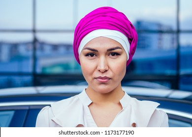 close-up portrait attractive and mysterious Muslim Arabian woman perfect skin and charming eye makeup the head is covered with a handkerchief wearing Hijab