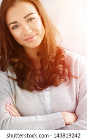 close-up portrait attractive young woman smiling